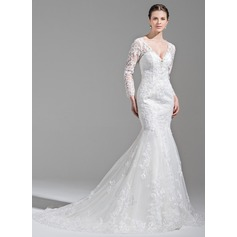 Trumpet/Mermaid V-neck Chapel Train Tulle Wedding Dress With Beading Appliques Lace Sequins (002071572)