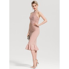 Trumpet/Mermaid High Neck Knee-Length Satin Cocktail Dress With Cascading Ruffles