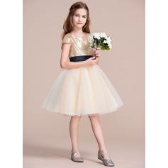 Forme Princesse Longueur genou Robes à Fleurs pour Filles - Tulle/Pailleté Sans manches Col rond avec Ceintures
