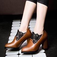 Donna Similpelle Tacco spesso Stiletto Punta chiusa con Fiocco in raso scarpe