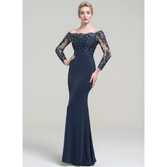 Trumpet/Mermaid Off-the-Shoulder Floor-Length Jersey Prom Dresses With Beading Sequins (018112817)