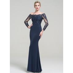 Denizkızı Off-Omuz Uzun Etekli Jersey Mezuniyet Elbisesi Ile boncuklu kısım Payetler (018112817)