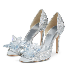 Women's Microfiber Leather Stiletto Heel Peep Toe Pumps With Rhinestone (047233096)