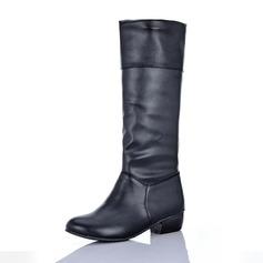 Vrouwen Kunstleer Low Heel Closed Toe Laarzen Knie Lengte Laarzen schoenen