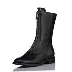Kvinnor Äkta läder Flat Heel Platta Skor / Fritidsskor Stövlar Halva Vaden Stövlar med Zipper skor