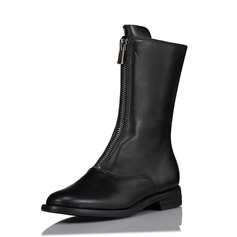 Frauen Echtleder Flascher Absatz Flache Schuhe Stiefel Stiefel-Wadenlang mit Reißverschluss Schuhe