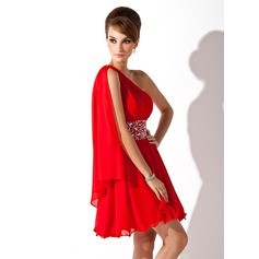 A-Line/Princess One-Shoulder Short/Mini Chiffon Homecoming Dress With Ruffle Beading