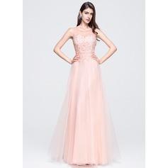 Vestidos princesa/ Formato A Decote redondo Longos Tule Vestido de baile com Beading Apliques de Renda lantejoulas