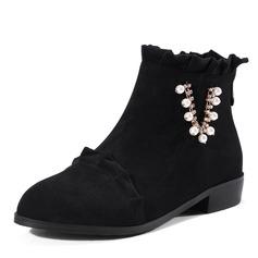 Kvinnor Mocka Låg Klack Stövlar Boots med Oäkta Pearl rynkad Zipper skor