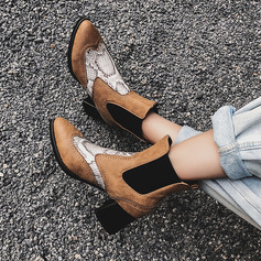 Women's Leatherette Chunky Heel Ankle Boots With Others Elastic Band shoes