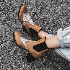 Frauen Kunstleder Stämmiger Absatz Stiefelette mit Andere Gummiband Schuhe