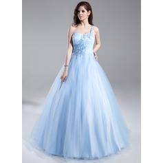 Ball-Gown One-Shoulder Floor-Length Tulle Prom Dresses With Ruffle Beading Appliques Lace