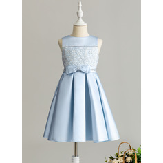 A-Line Knee-length Flower Girl Dress - Satin/Lace Sleeveless Scoop Neck With Beading/Bow(s)