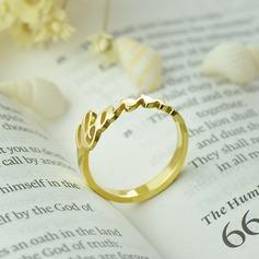 Personlig Unisexmodell Hotteste Gold Plated med Runde Navn Ringer Ringer Henne/Venner/Brudepike (011206363)