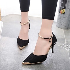 Women's Suede Stiletto Heel Sandals Pumps Closed Toe With Sequin shoes (085118813)