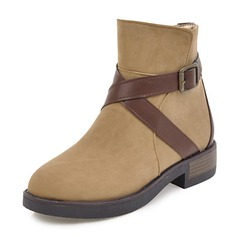 Women's Leatherette Low Heel Boots Ankle Boots With Buckle Zipper shoes