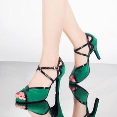 Женщины кожа Замша На каблуках Сандалии Латино с Ремешок на щиколотке Обувь для танцев