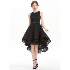 A-Line/Princess Scoop Neck Asymmetrical Lace Homecoming Dress With Beading Sequins (022127950)
