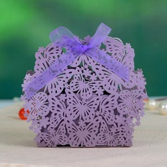 Butterfly Theme Pearl Paper Favor Boxes With Ribbons (Set of 12)