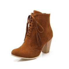 Women's Suede Chunky Heel Ankle Boots Martin Boots With Tassel Braided Strap shoes (088096251)