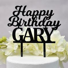 Personalizado Feliz Cumpleaños Acrílico Decoración de tortas (Sold in a single piece)