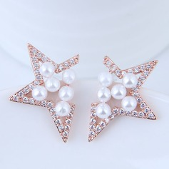 Élégante Pearl/Cuivre/Zircon de Dames Boucles d'oreilles