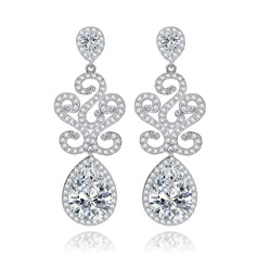 Classic Copper/Zircon/Platinum Plated Ladies' Earrings