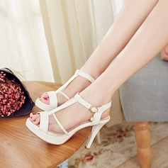 Women's Leatherette Mesh Stiletto Heel Sandals Pumps Peep Toe Slingbacks With Buckle Chain shoes