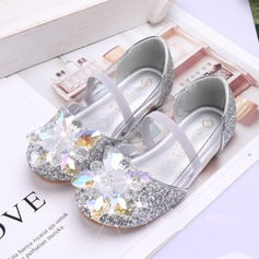 Girl's Round Toe Closed Toe Leatherette Sparkling Glitter Flat Heel Flats Flower Girl Shoes With Velcro Crystal