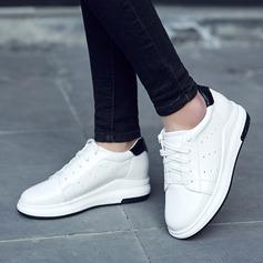 Mulheres Couro Plataforma Calços com Aplicação de renda Divisão separada sapatos