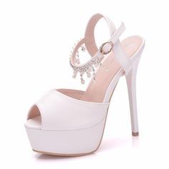 Women's Leatherette Spool Heel Peep Toe Platform Pumps With Tassel