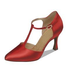 Women's Satin Heels Pumps Ballroom With T-Strap Dance Shoes