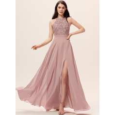A-Line Scoop Neck Floor-Length Chiffon Lace Bridesmaid Dress With Split Front (007233647)