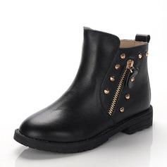 Ragazze Pelle vera Heel piatto Punta chiusa Stivali alla caviglia Stivali con Rivet Cerniera