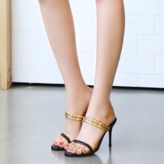 Женщины Лакированная кожа Высокий тонкий каблук Сандалии На каблуках Босоножки обувь