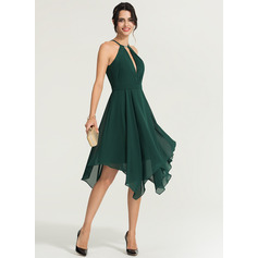 A-Line/Princess Scoop Neck Asymmetrical Chiffon Cocktail Dress With Beading (016170865)