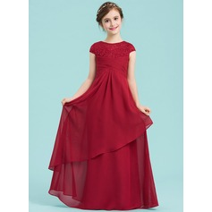 A-Line/Princess Scoop Neck Floor-Length Chiffon Junior Bridesmaid Dress With Ruffle (009149004)