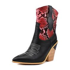 Naisten Keinonahasta Chunky heel Mid-calf saappaat jossa Split yhteinen kengät