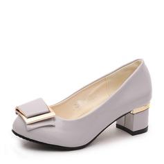 Frauen PU Stämmiger Absatz Geschlossene Zehe mit Bowknot Schuhe