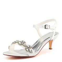 Women's Silk Like Satin Stiletto Heel Peep Toe Pumps With Crystal