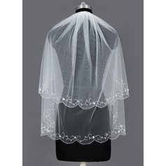 Two-tier Elbow Bridal Veils With Beaded Edge (006035493)