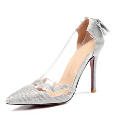 Mulheres Couro PVC Salto agulha Bombas Fechados com Bowknot Lantejoulas sapatos
