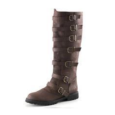 Vrouwen Kunstleer Flat Heel Flats Laarzen Knie Lengte Laarzen met Gesp schoenen