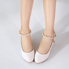 Jentas Lukket Tå Leather lav Heel Pumps Flower Girl Shoes med Imitert Perle