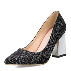 Frauen Veloursleder Stämmiger Absatz Absatzschuhe Geschlossene Zehe Schuhe
