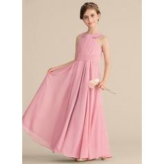 Vestidos princesa/ Formato A Decote redondo Longos Tecido de seda Vestido de daminha júnior com Pregueado Beading lantejoulas