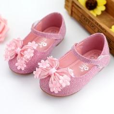 Jentas Round Toe Ballett Flat Leather flat Heel Flate sko Flower Girl Shoes med Bowknot Velcro Blomst