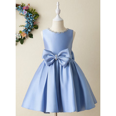 Ball-Gown/Princess Knee-length Flower Girl Dress - Satin Sleeveless Scoop Neck With Bow(s)/Rhinestone (010206306)
