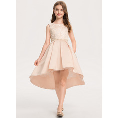 A-Line Asymmetrical Flower Girl Dress - Satin/Lace Sleeveless Scoop Neck With Beading
