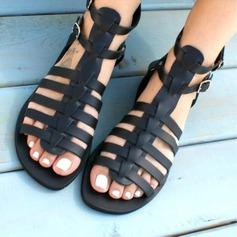 Frauen Kunstleder Flascher Absatz Sandalen Schuhe